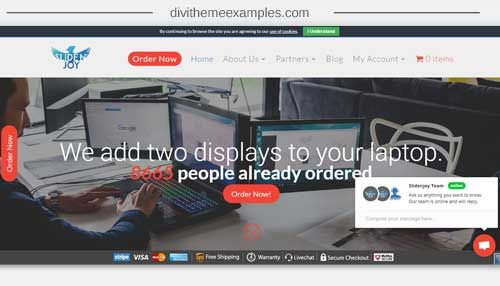 a divi theme website example for slide joy who sell multi-screens