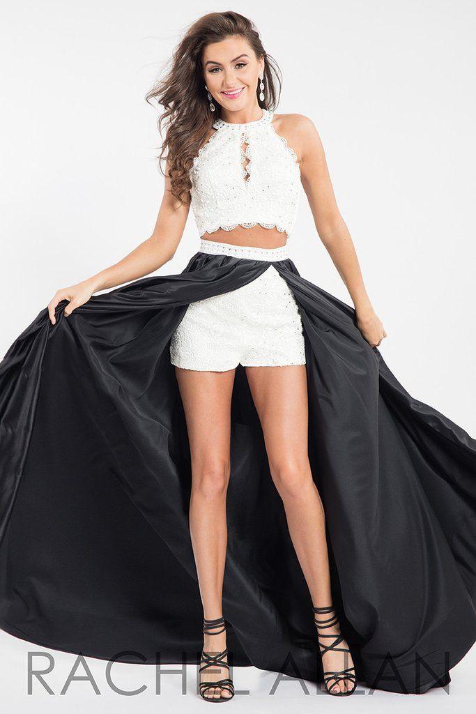 Rachel Allan 7590 White/Black Two Piece with Shorts Prom Dress