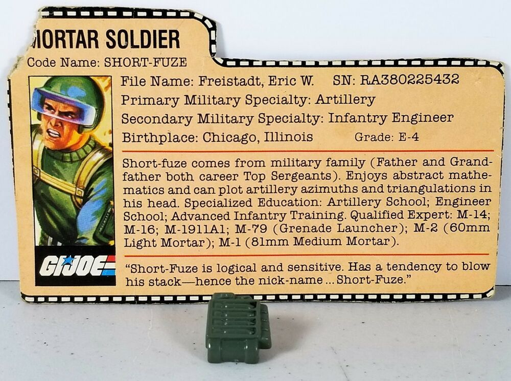 Hasbro 1982-1995 G.I Vintage GI Joe ARAH File Cards Joe Cobra YOUR CHOICE