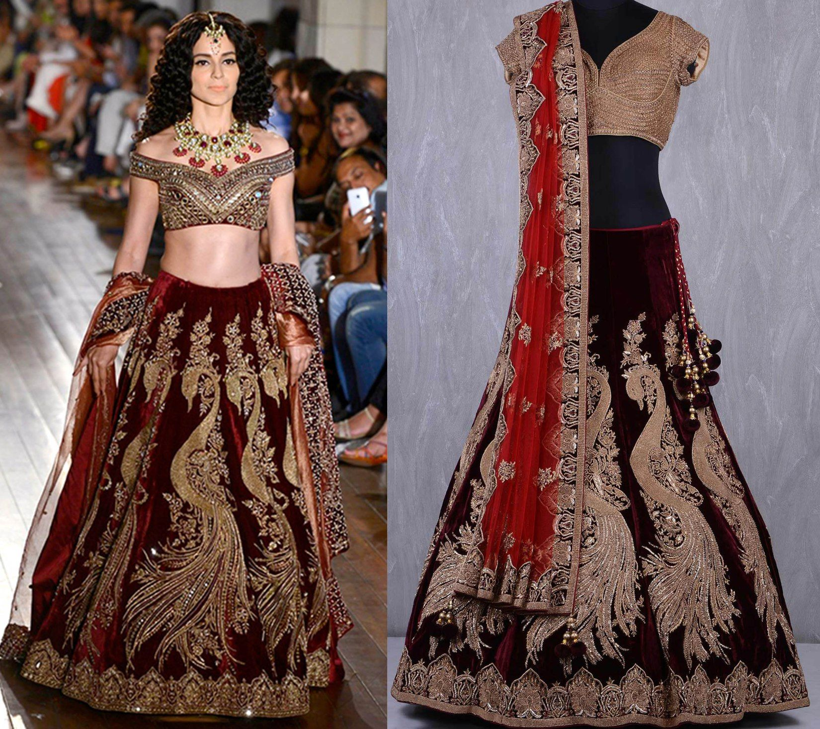 bab4ff20d Maroon velvet embroidered lehenga from Manav gangwani with peacock  embroidery.  lehenga  bridallehenga  weddinglehenga  circular  indowestern   rawsilk ...