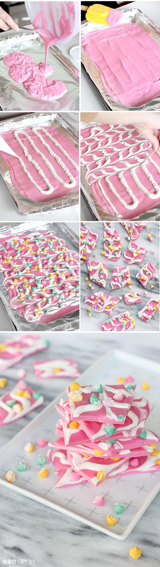 Steps Pink Mint Chip Chocolate Bark ŧyaandiig Fōōd Chocolate