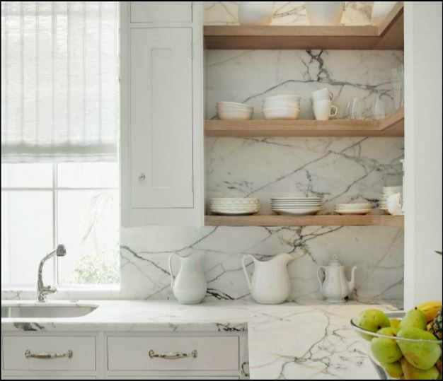 White Kitchen Floating Shelves: Counter To Ceiling Marble Backsplash With Open Shelving