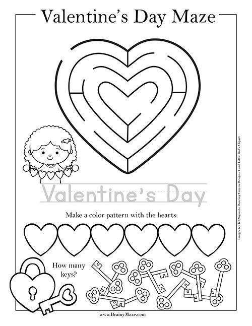Free printable Valentine's Day mazes and activity pages