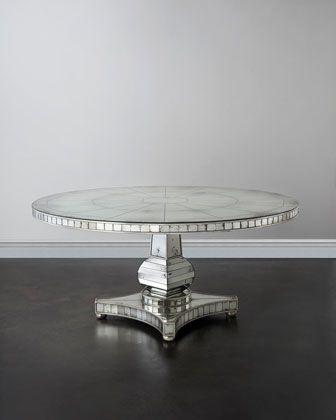 John Richard Collection Tonya Mirrored Dining Table With Images Mirror Dining Table Dining Table Mirrored Furniture
