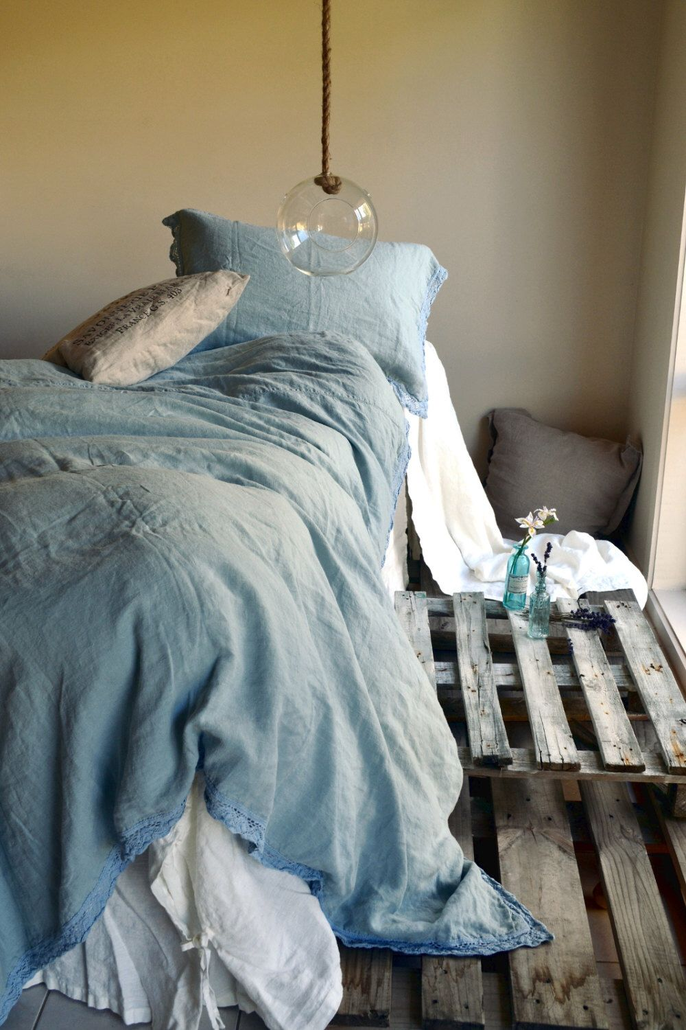 French Provincial Inspired Linen Bedding Set In Vintage Duck Egg