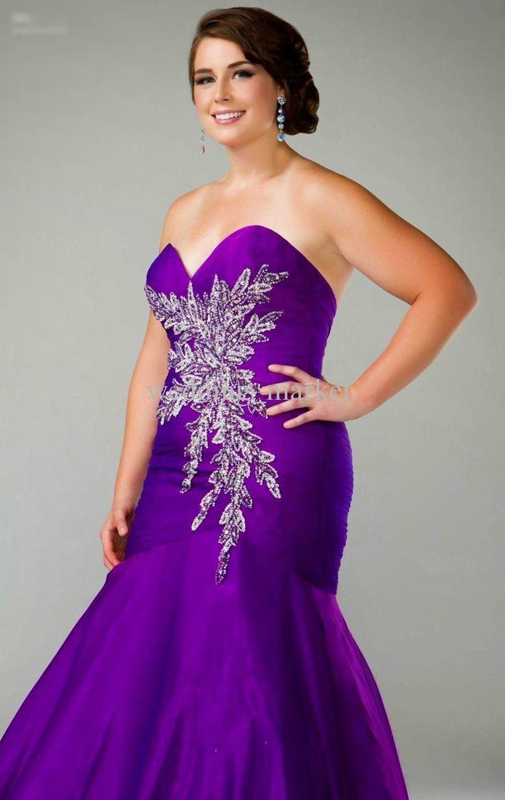 Custom plus size wedding dress purple mermaid mermaid prom dress