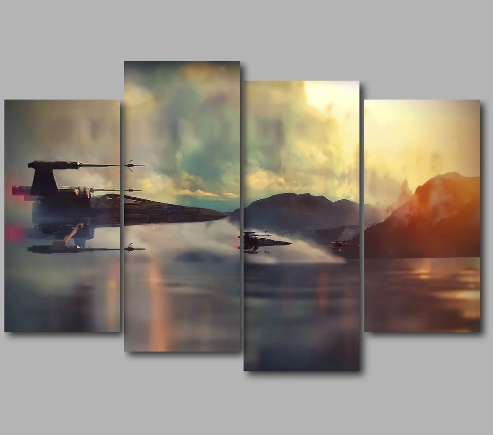 Wall Art Split Canvas : Xl star wars wing fighters over water panel split