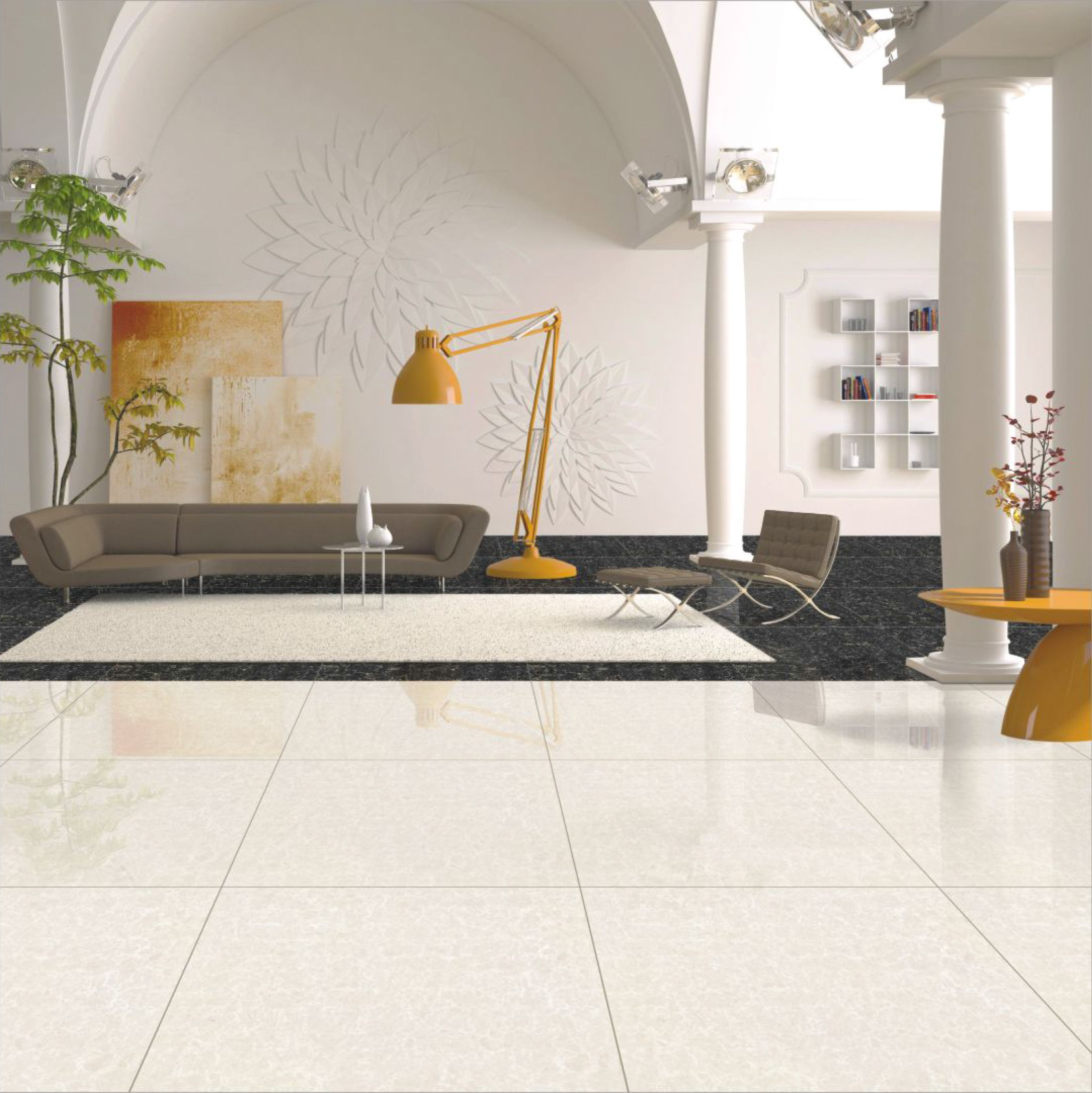 Double Charge Floor Tiles Polished Porcelain Tiles Vitrified