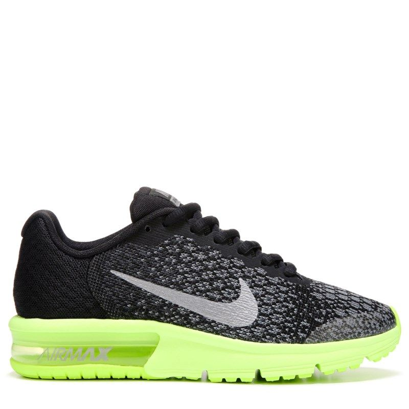 Nike Kids' Air Max Sequent 2 Running Shoe Grade School Shoes (Black/Volt