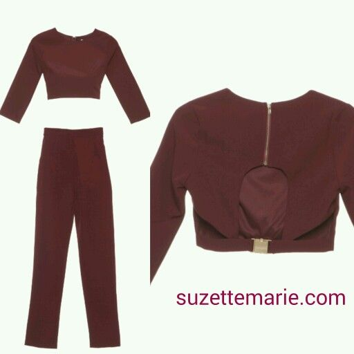 2 piece crop top and high waisted pants