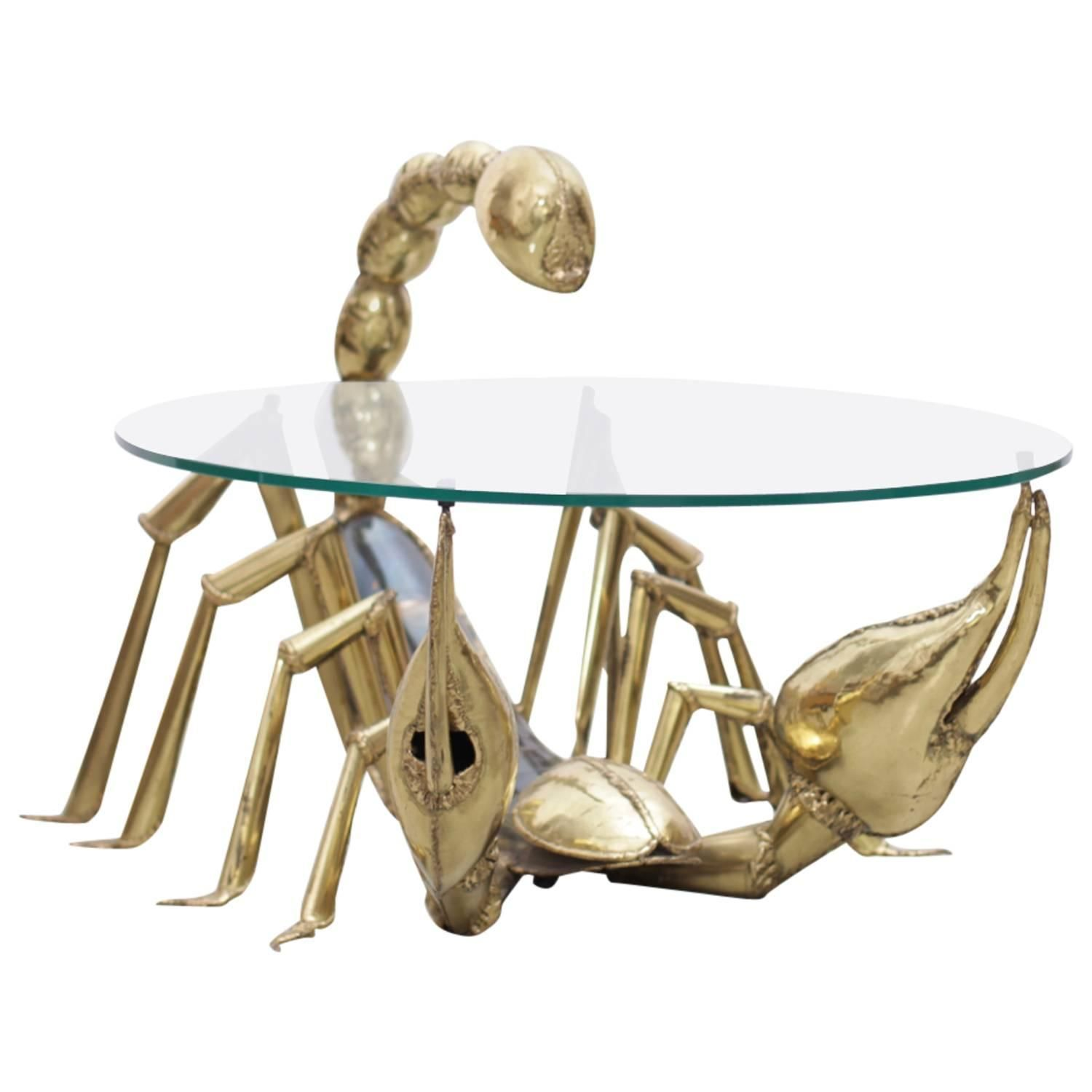 Rare Illuminated Brass Scorpion Coffee Table by Jacques Duval