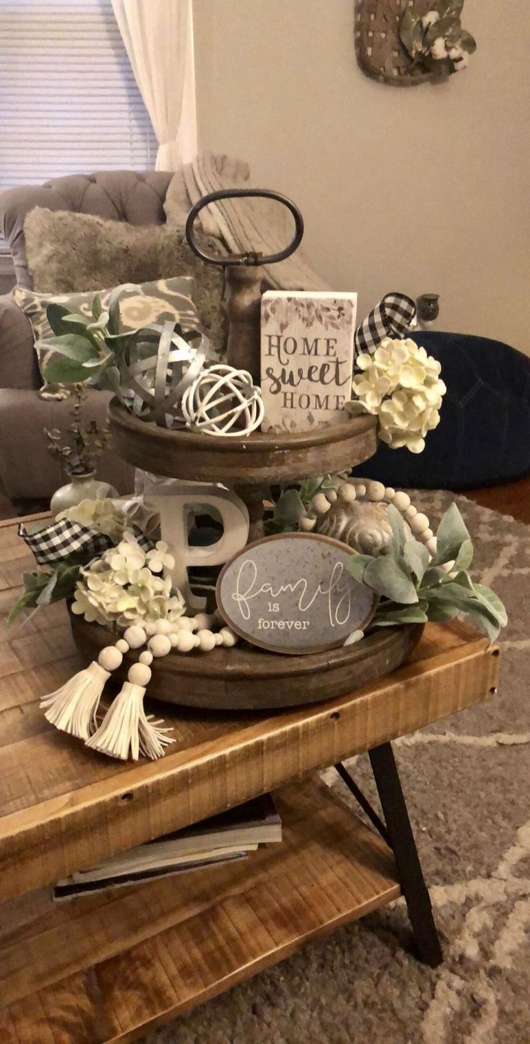 +33 Ideas To Fall Tiered Tray Decor Farmhouse 2 - freehomeideas.com #tieredtraydecor