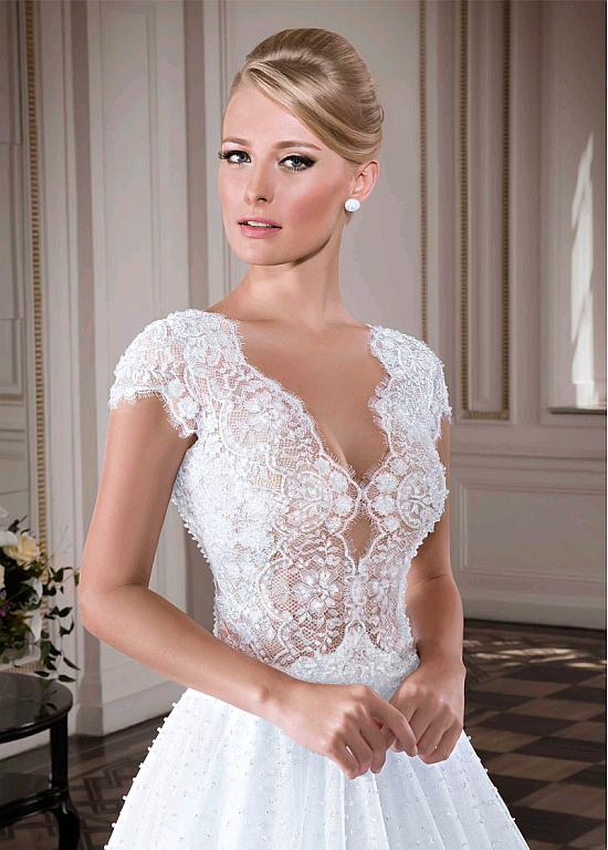 Bridesfamily Alluring Tulle Sheer Jewel Neckline A Line Wedding