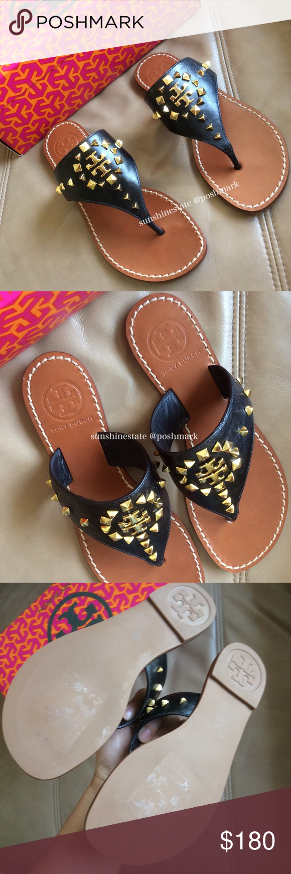 dba1a5594d38 Tory Burch black Dale Studded Thong sandals Leave email if you want to see