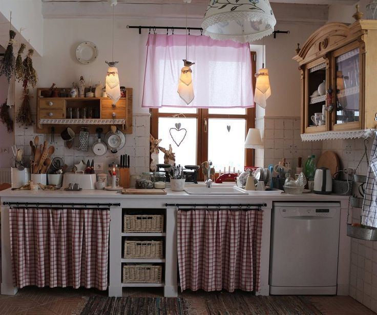 Country Cottage Kitchen Curtains: .country Cottage Wood White Red Kitchen