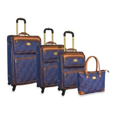 Adrienne Vittadini Leopard Jacquard Collection 4-Piece Spinner Luggage Set in Blue - BedBathandBeyond.com