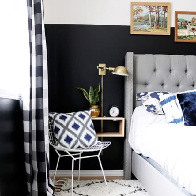 """""""This fantastic, dramatic #simplystyleyourspace is another example of a stylish floating bedside shelf. Gorgeous space @hellolidy!!!"""" Photo taken by @simplygrove on Instagram, pinned via the InstaPin iOS App! http://www.instapinapp.com (07/12/2015)"""