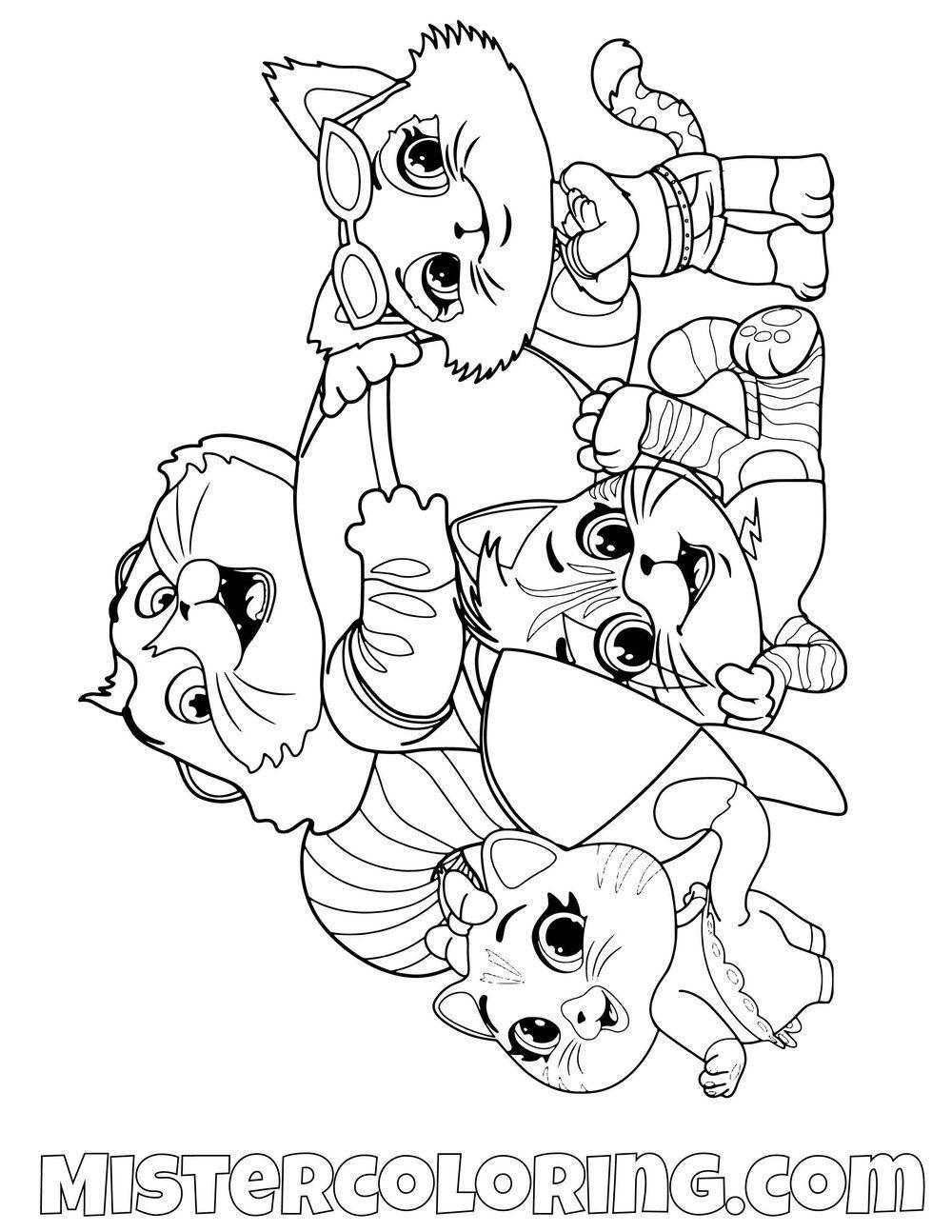 44 Cats Posing Milady Pilou Meatball Lampo 44 Cats Coloring Pages For Kids Cat Coloring Page Coloring Pages Coloring Pages For Kids