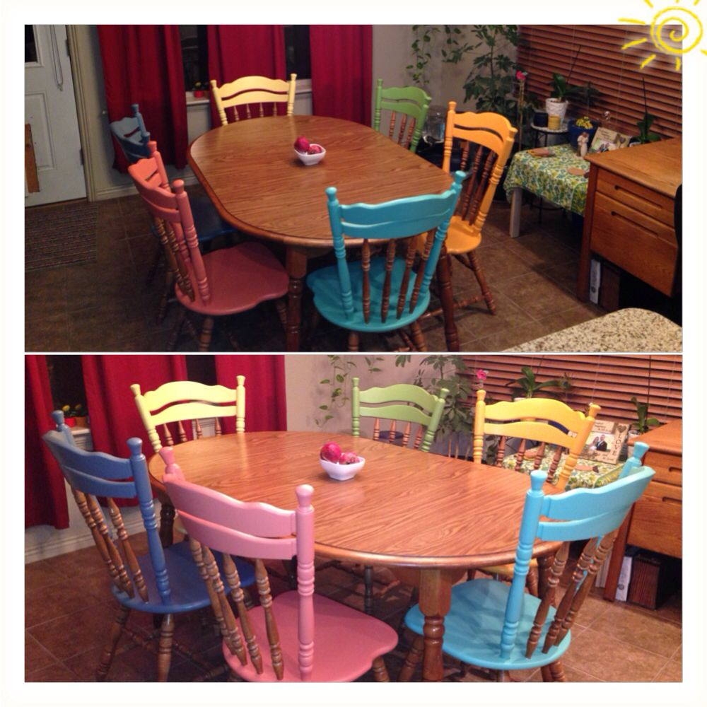 Different colors for each dining room chair! Sanded/stripped