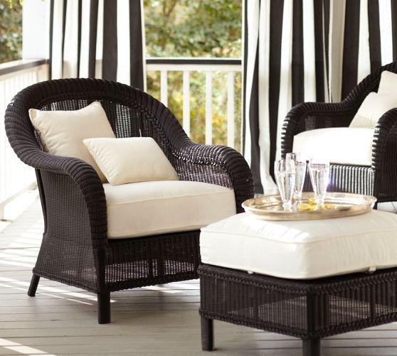 Palmetto All Weather Wicker Lounge Chair Black In 2020 Wicker