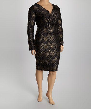 Another great find on #zulily! Black & Gold Zigzag Surplice Dress - Plus #zulilyfinds