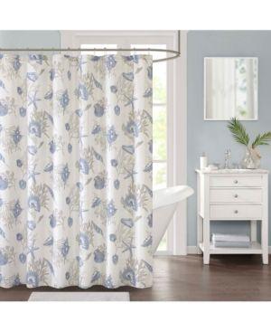 Jla Home Harbor Printed 72 X 72 Faux Linen Shower Curtain