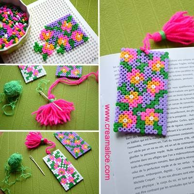 diy marque pages perles hama pompon bookmarks beads and diy and crafts. Black Bedroom Furniture Sets. Home Design Ideas
