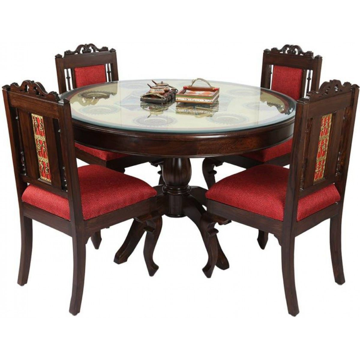 Pure Wooden Crafted Dining Table Set Finish Color Brown Buy