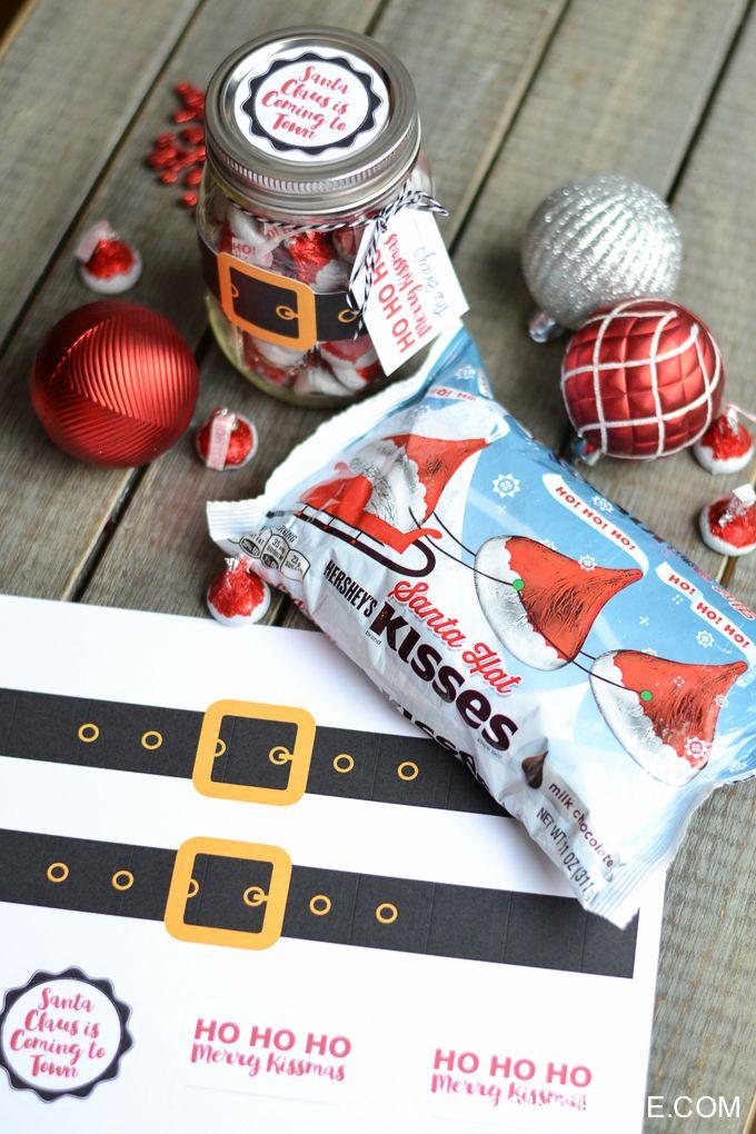 Christmas Mason Jar Santa Gift & Printable | Christmas ideas | Pinterest