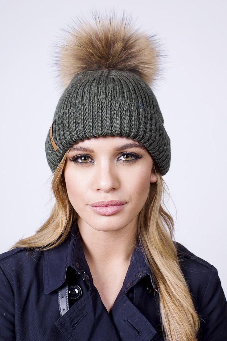 0898d65744e Womens Girls Winter Fleece Lined Cable Knit Hat Fur Hat Real Large Raccoon  Fur Pom Pom Beanie Hats Cap