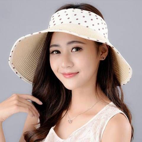 f4ddba2042c501 Polka dot bow straw visor hat for women UV package wide brim sun hats