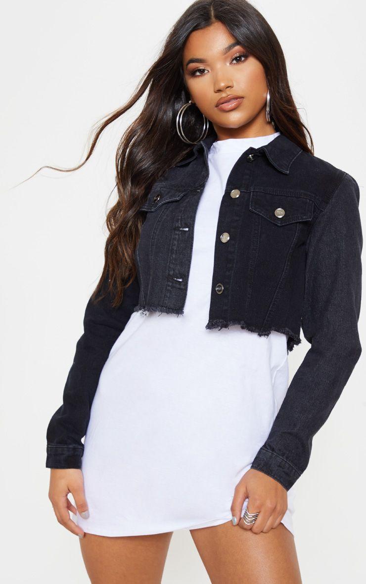 Washed Black Contrast Cropped Denim Jacket Cropped Denim Jacket Cropped Denim Jacket Outfit Black Denim Jacket [ 1180 x 740 Pixel ]