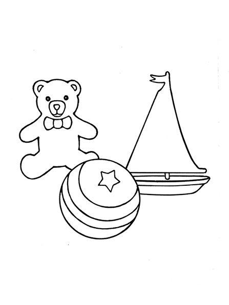 Un ejemplo blanco y negro de un pequeño velero de juguete, un oso de ...