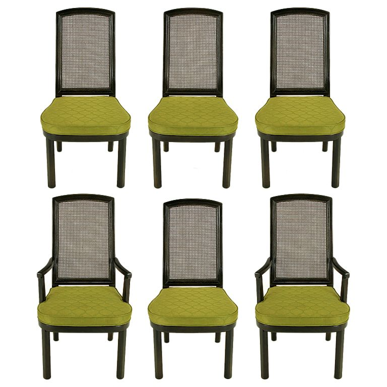 Six Henredon Chinoiserie Mahogany & Cane Dining Chairs  Dining Cool Cane Dining Room Chairs Design Inspiration