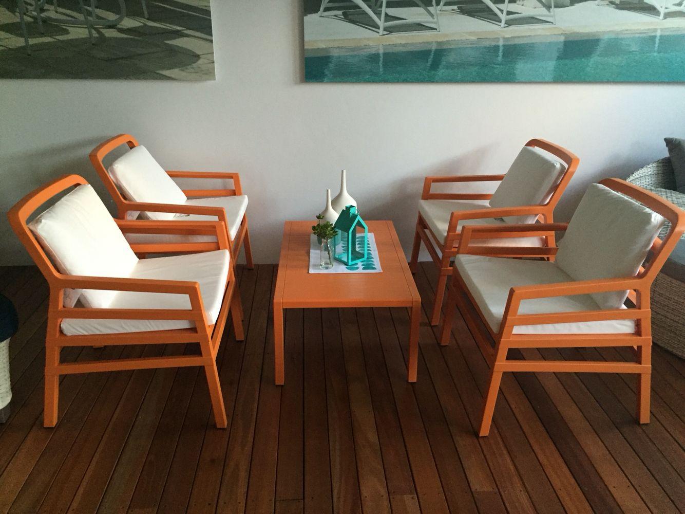 Nardi Mobili ~ Nardi aria 5 piece dining setting in vibrant orange nardi