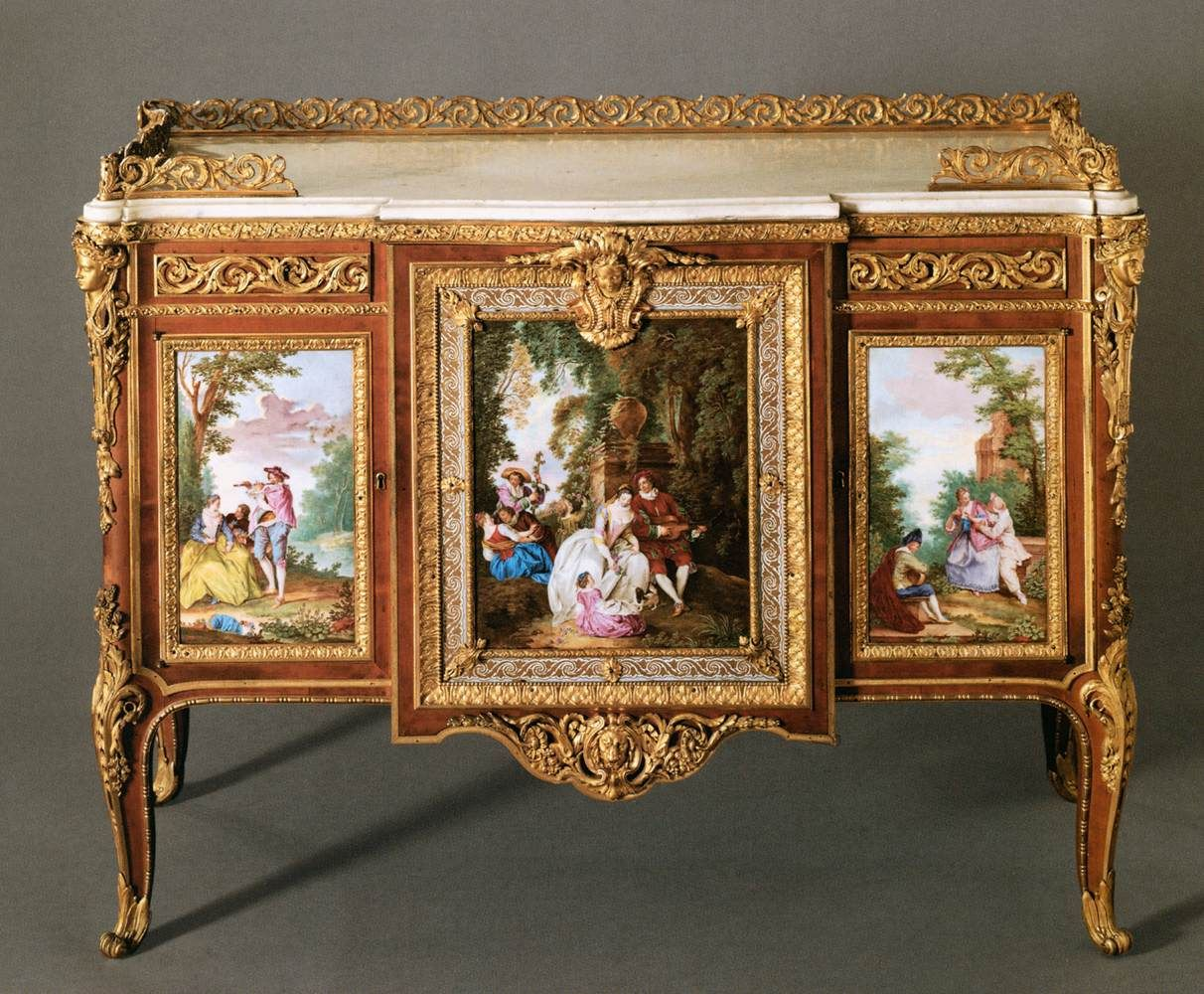 Martin Carlin Commode With Five Porcelain Plaques 1772 Wood With Soft Paste  Porcelain Plaques Musйe