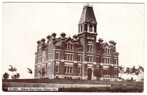 Vintage Postcard Hebron Nebraska High School by VintageBarrel, $10.00