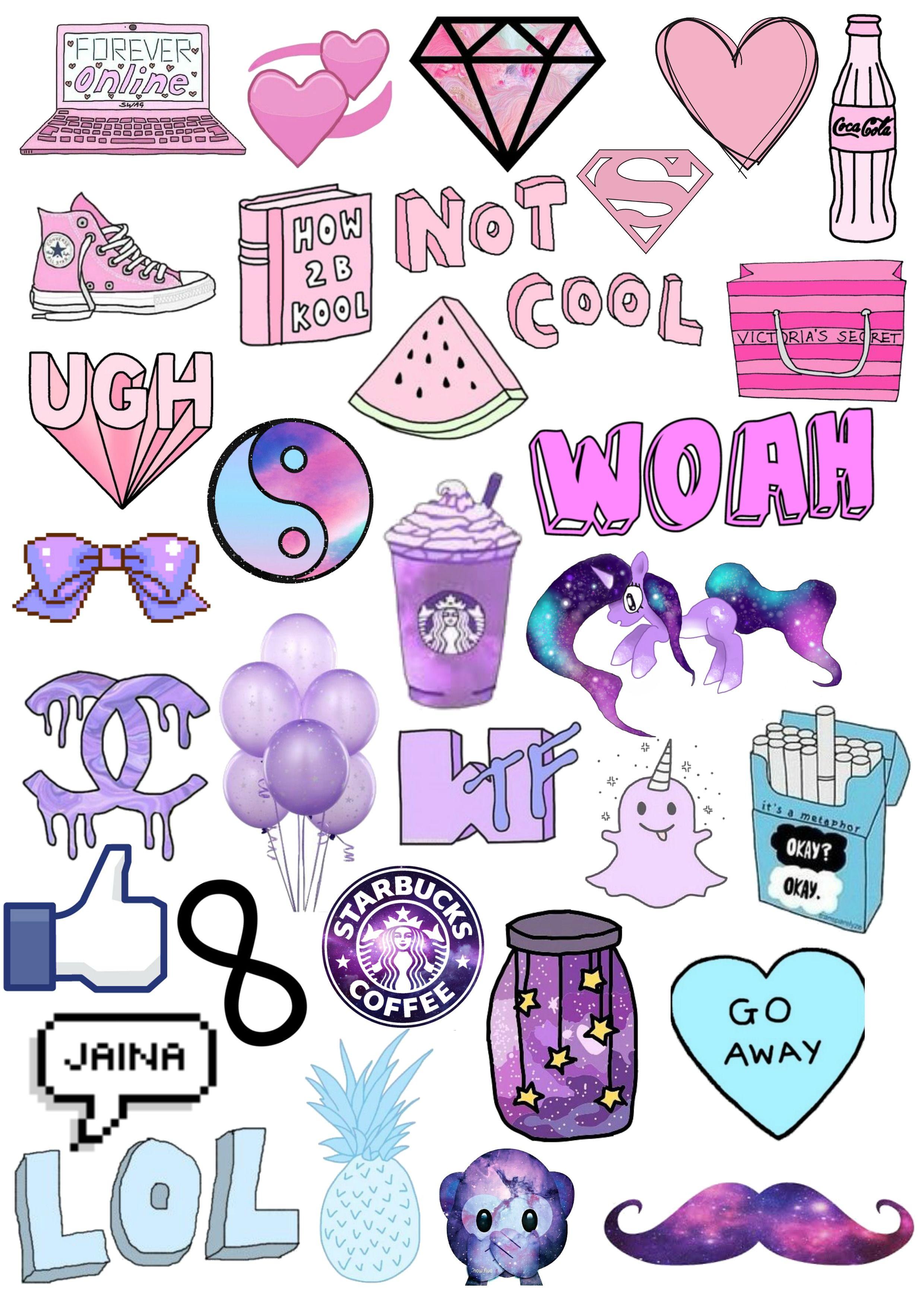 Purple Tumblr Stickers On Log Wall