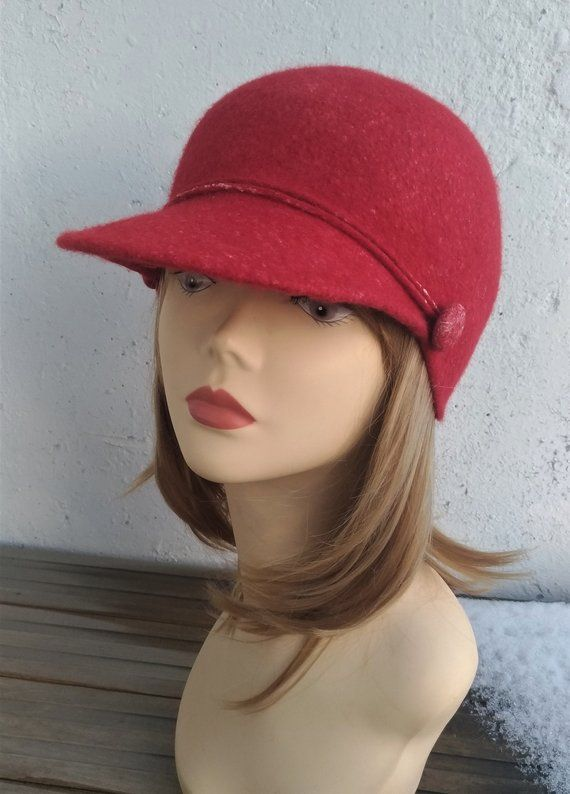 836fcc172f04af Women's visor hat Felted cap Fashion visor hat Trendy woman hat cap Jockey hat  Hat with visor Red vi