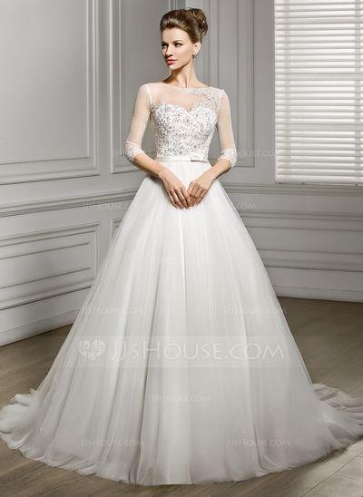 87394a6a4  € 199.87  Corte A Princesa Escote redondo Cola corte Tul Vestido de novia  con Bordado Los appliques Encaje Lentejuelas Lazo(s) (002056956)