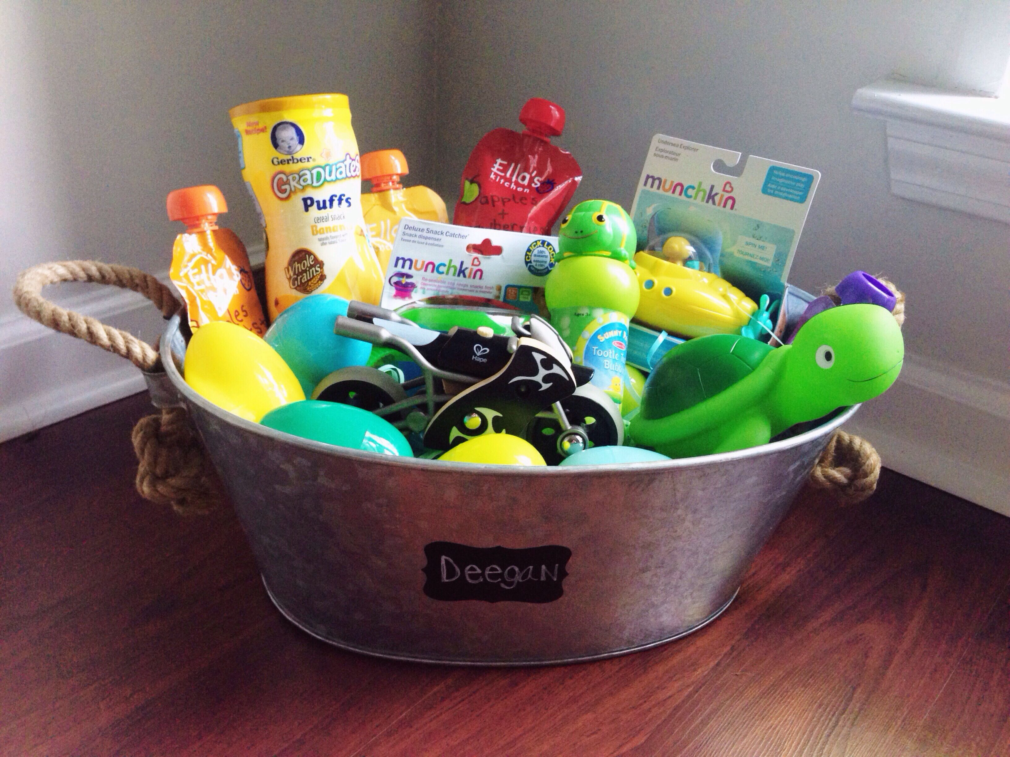 Deegans first easter basket baby toddler boy first easter deegans first easter basket baby toddler boy first easter basket ideas nautical galvanized negle Images