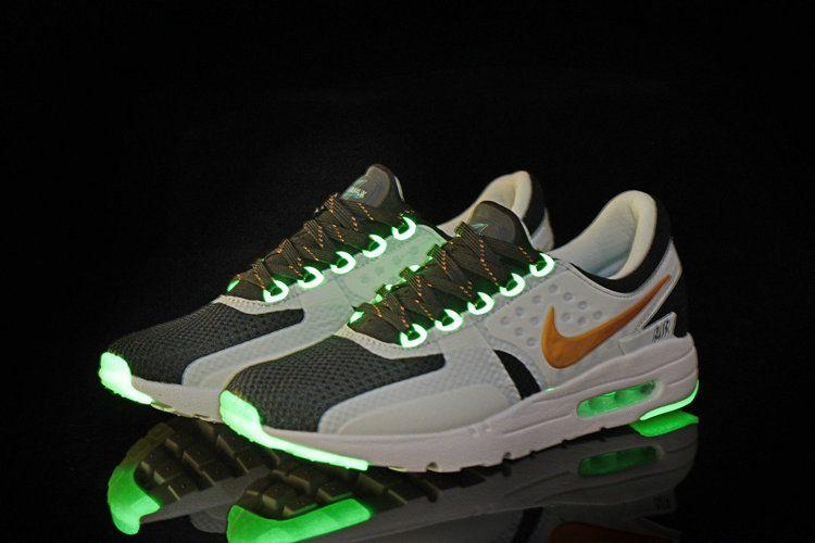 Pas Cher Men Nike Air Max Zero Glow In The Dark Black White Gold Green Glow