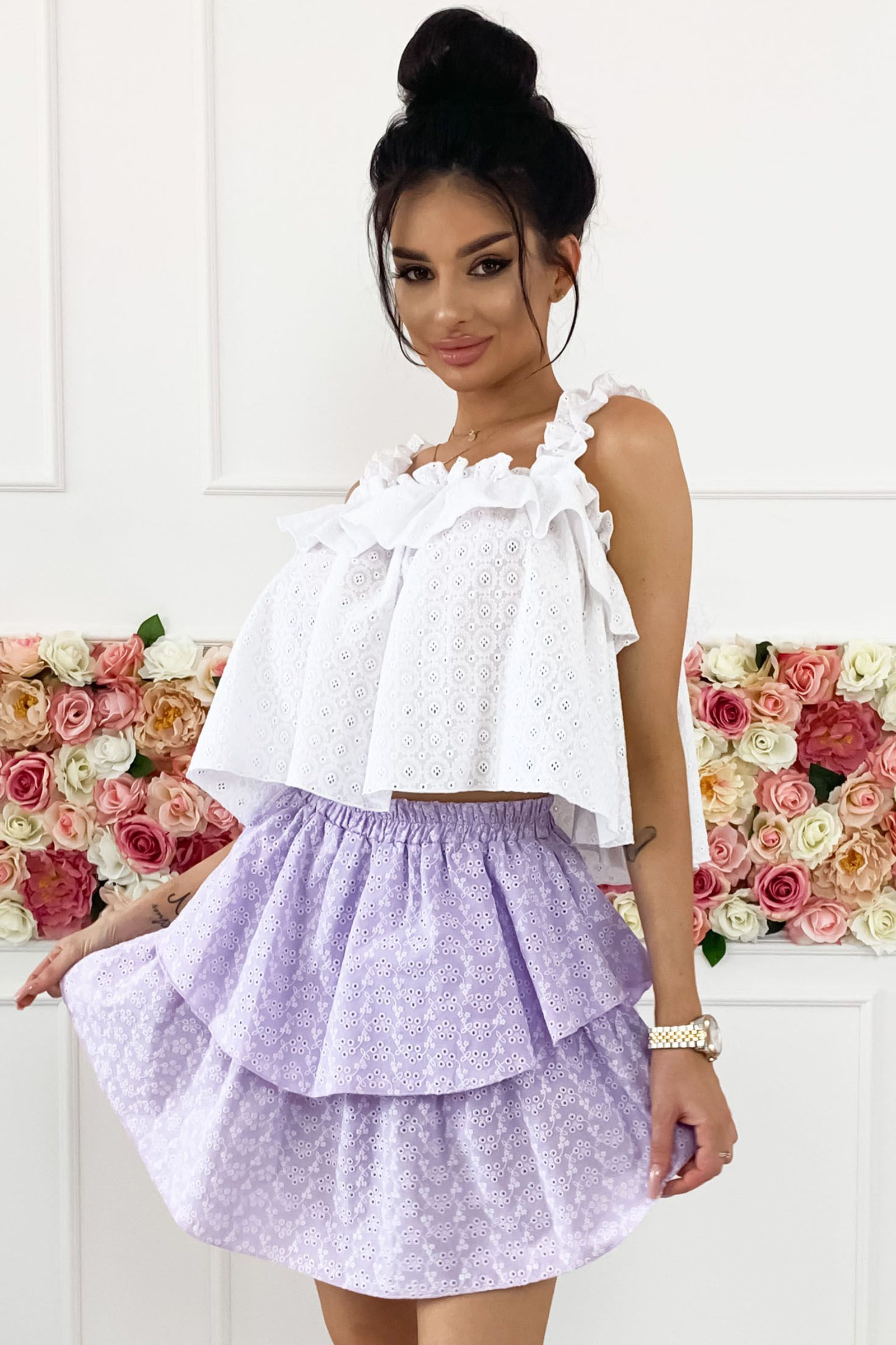 Bluzka Na Ramiaczkach Z Falbanka Flower Girl Dresses Girls Dresses Wedding Dresses
