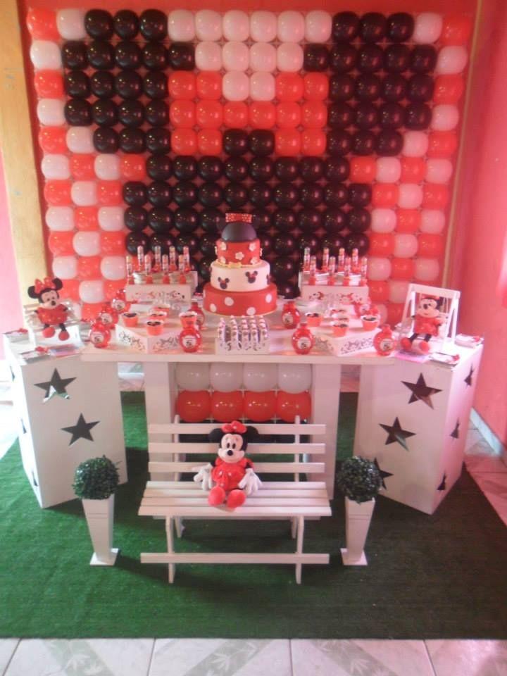 Mesa tem tica minnie vermelha decora o disney mickey - Mesas infantiles disney ...
