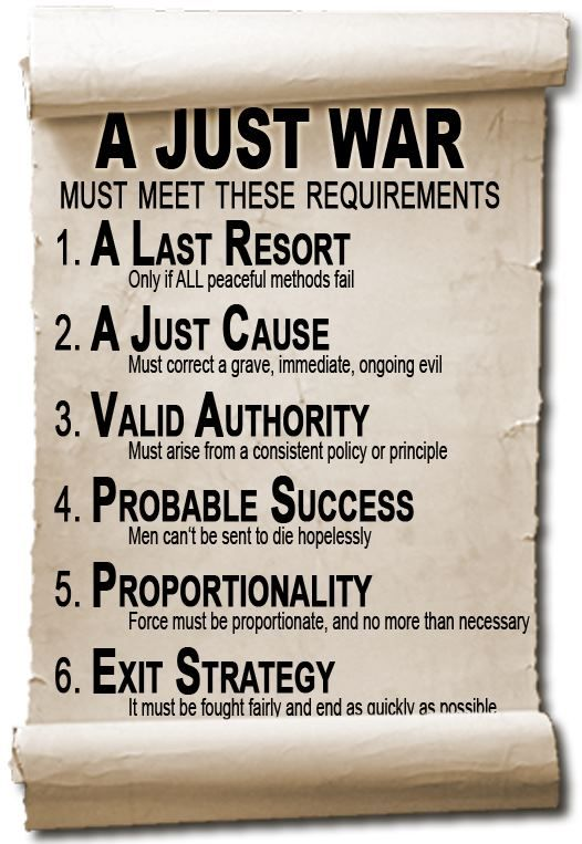 The de-facto definition of Just War, (based on the writings of St. Thomas Aquinas) | Talking