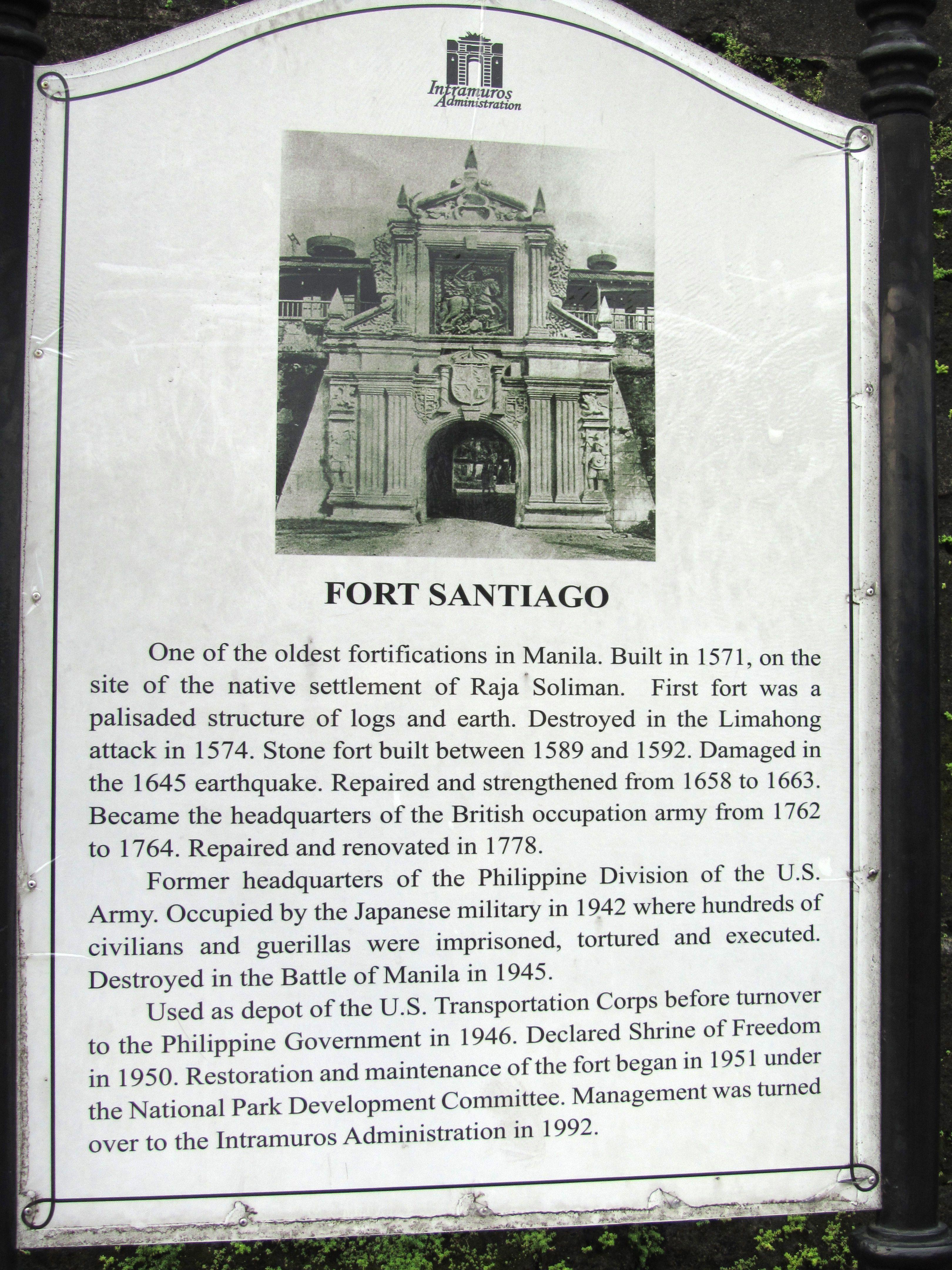 Historical marker for Fort Santiago.