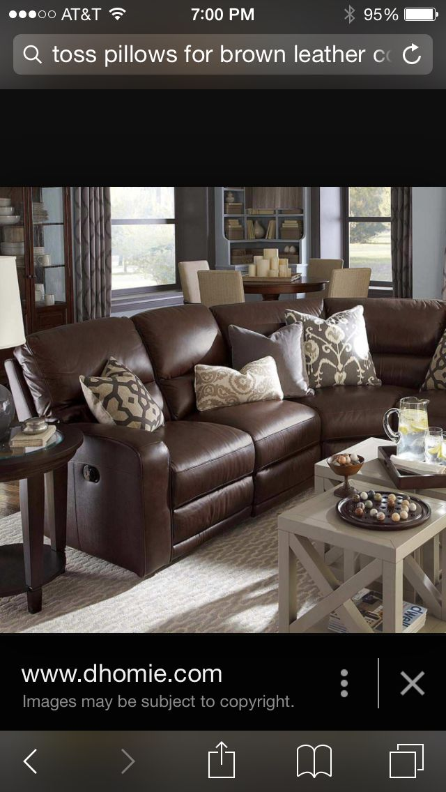 Throw Pillow ideas for leather couch | DIY | Brown leather ...