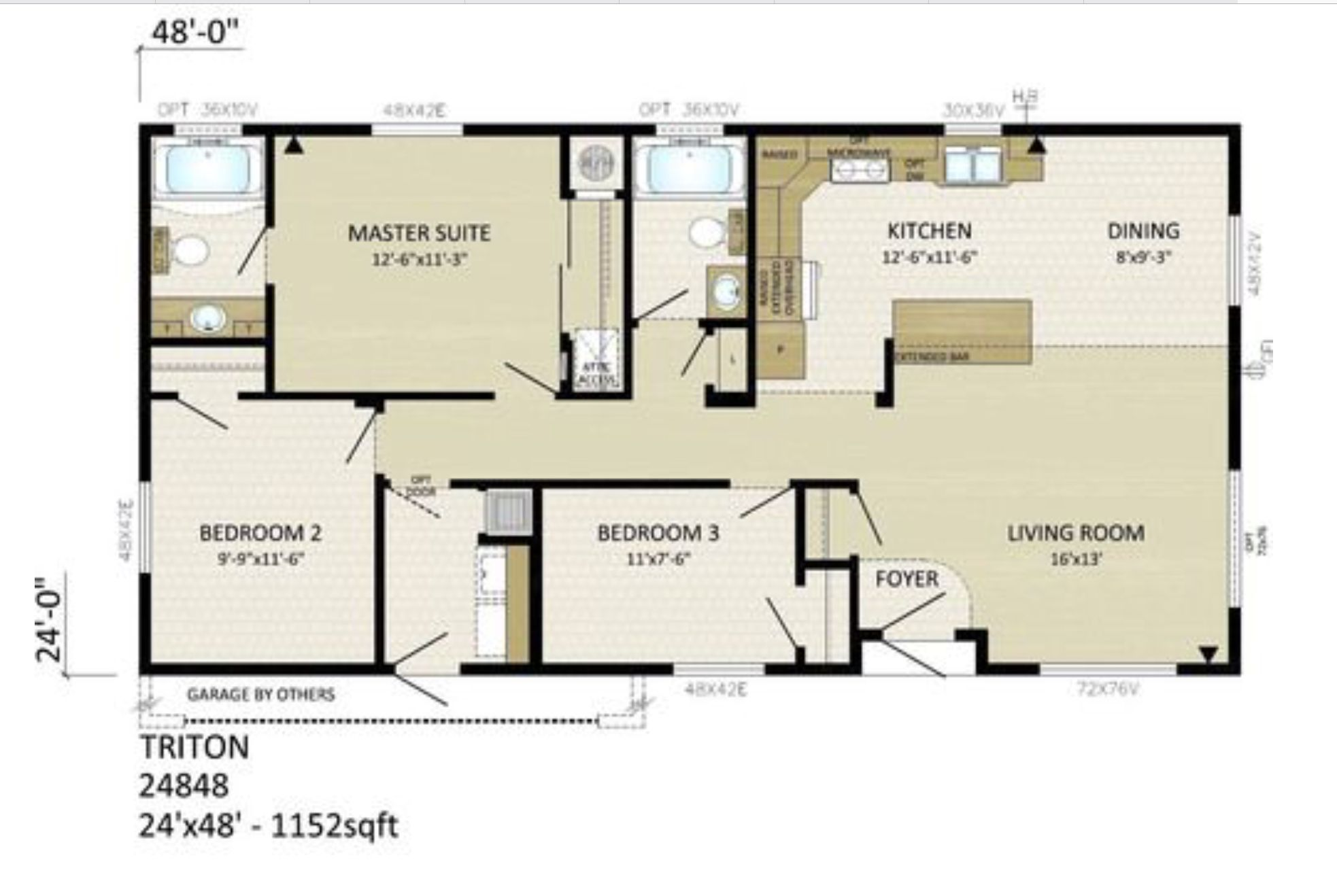 24 x 48 square foot floor plan for tiny ish house, 3 bed 2 ... Raised Ranch House Plans X on