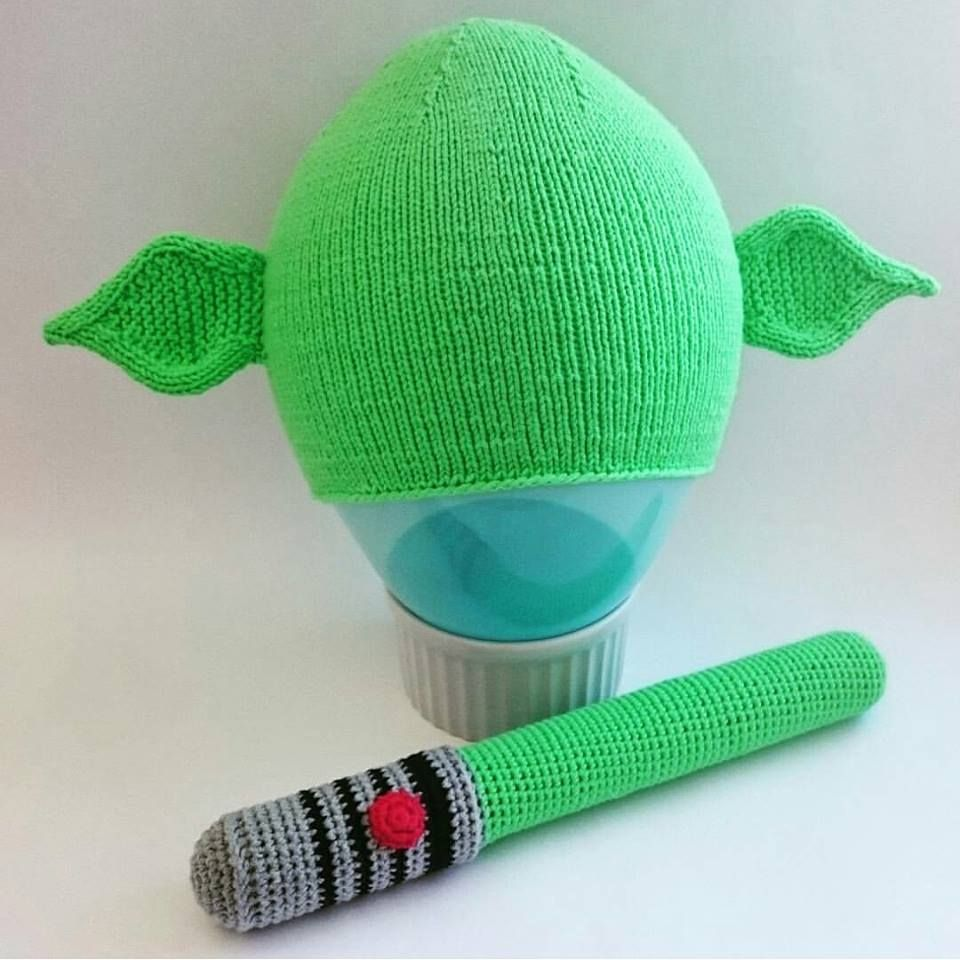 Yoda hat and lightsaber   Knitting, Knitted hats, Hats