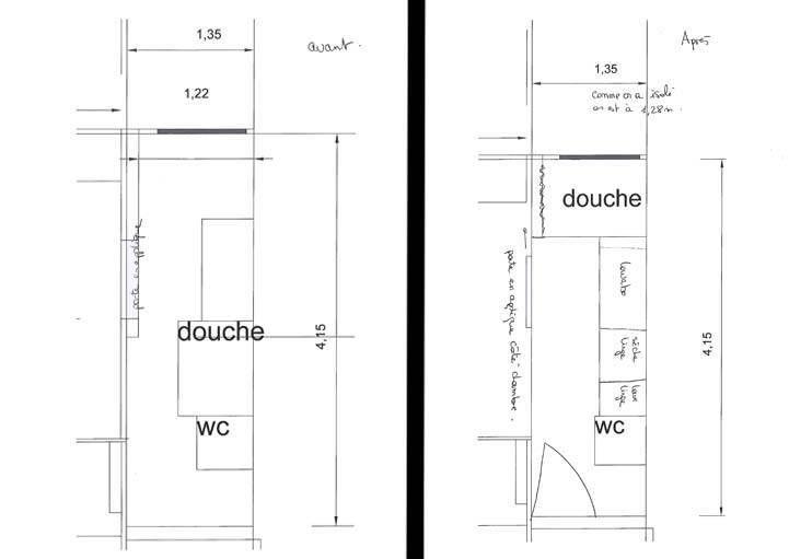 plan de la salle de bains avant et apr s travaux allysone - Plan Petite Salle De Bain En Longueur